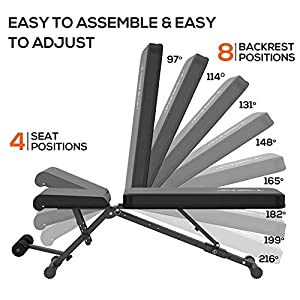 Weight Bench Adjustable Workout Bench Press Foldable Incline/Decline Lifting Exercise Bench Strength Training Benches for Home Gym