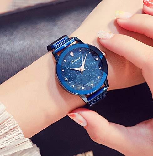 Rventric Lady Quartz Watch Star Sky, Superficie De Corte A Prueba De Agua del Reloj De Cuarzo De Malla Magnética para El Día De San Valentín/Día De La Madre/Ceremonia De Graduación,Blue