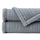 Chanasya Gray Soft Cable Knit Throw Blanket - Fluffy Sherpa Plush Thick Warm Lightweight Cozy Modern Grey Knitted Blankets - for Sofa Couch Living Room and Bed Room (50x65 Inches) - Gray
