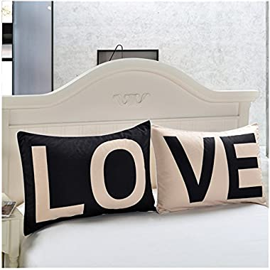 "Decorative Couples Pillowcases,""LO""&""VE"" Set of 2 Printed Pillowcases,Romantic Couple Pillow Covers Perfect for Decoration of Bedroom,Living Room,Gift of Anniversary,Wedding"