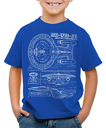 style3 NC-1701-D Cianotipo Camiseta para Niños T-Shirt Fotocalco Azul Trek Trekkie Star, Color:Azul, Talla:152