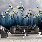 3D Fotomurales Papel pintado Flor rosa acuarela azul No Tejido Murales Moderna Diseño Póster Salón Dormitorio TV Telón de Fondo Pared Hogar Decoración 400x280 cm