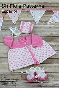 patrón para dos agujas – KP260 - chaqueta matinée, sombrero y botitas/patucos para bebé