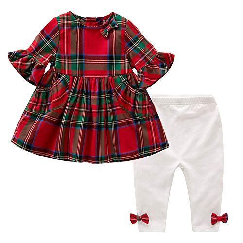 Baby Girl Christmas Outfit 2PCS Red & Green Tartan Plaid Tunic Dress + Leggings Clothes Set (Red & Green Plaid, 6-12 Months)