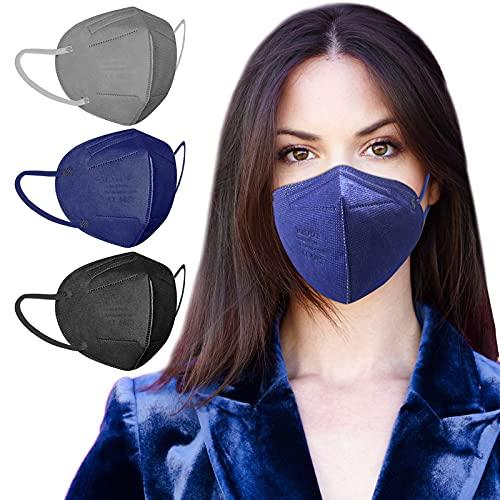 AHOTOP FFP2 Maske CE Zertifiziert | 30 Stück FFP2 Maske Bunt | FFP2 Maske Schwarz | FFP2 Maske Farbig | FFP2 Maske Blau | FFP2 Maske Grau | Masken Mundschutz | Einzeln Verpackt | Mund und Nasenschutz