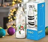 Treo by Milton Ivory Premium Glass Printed Bottle 1000 ml, 1 Pc, Snowman