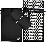 IAMZHL Yoga Lotus Spike Acupressure Mat Pillow Set Back Body Massager Acupuntura Cojín Mat Relieve Stress Tension Pain w/Carry Bag-Black