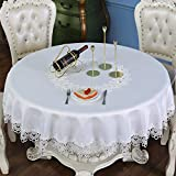 TaiXiuHome White European Style Minimalist Floral Embroidery Lace Tablecloth Hollow Top Decoration Round Approx 48 inch (120cm)