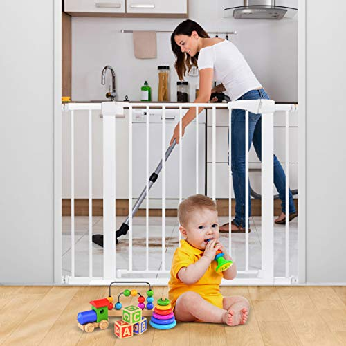 """40.5"""" Auto Close Safety Gate, KingSo Baby Gate Durable Extra Wide 29.5""""-40.5'' Walk Thru for House Stairs Doorways Hallways. Include 4 Pressure Bolts, 4 Wall Cups, 2.75'' & 5.5'' Extension, White"""