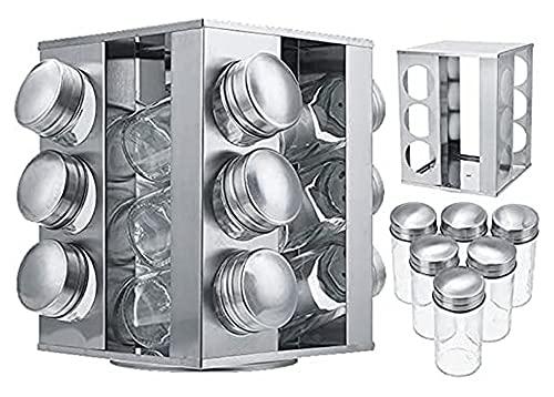 Rack de Especias giratorias 12 latas, Estante de Especias de Acero Inoxidable Independiente, Conjunto de Tarras de Especias de Vidrio (Size : M)
