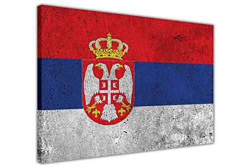 CANVAS IT UP Serbien Flagge Kunstdruck gerahmtes Wandbild Leinwandbild 38mm starke Rahmen, canvas, 05- A0+ 46