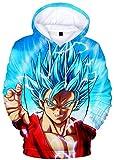 Silver Basic Sudadera con Capucha Goku Vegeta Sweater para Hombre, Diseño de Bolsillo Canguro 3D Dragon Ball Z DBZ M,005Goku Rojo-1…