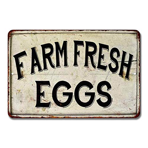 Chico Creek Signs Farm Fresh Eggs Sign Vintage Sweet Farmhouse Signs Decor Chicken Coop Decorations Barnyard Egg For Sale Hen House Rustic Accessories Tin Wall Art 8 x 12 High Gloss Metal 208120020091