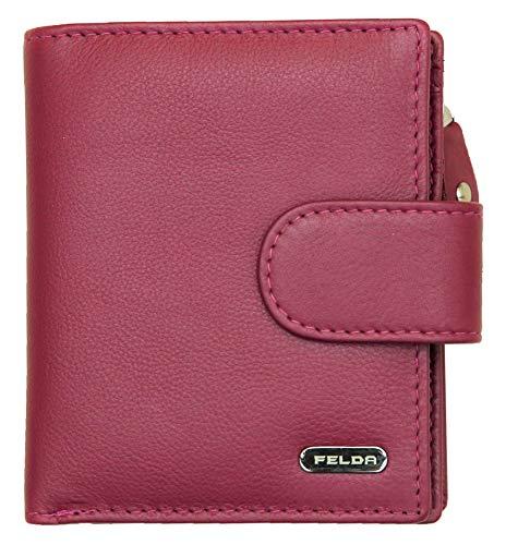 Felda - Damen Geldbörse - aus Echtleder - RFID-Blocker - mit Geschenkschachtel - klein - Weinrot