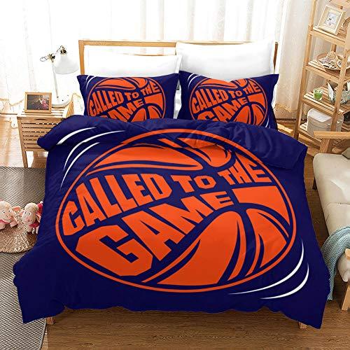 YGWDPX Basketball Juego de Funda de edredón 220x240cm Juego de Ropa de Cama de 2 Piezas de Microfibra,Funda Nórdica con Cremallera y 2 Funda de Almohada de 50x75 cm