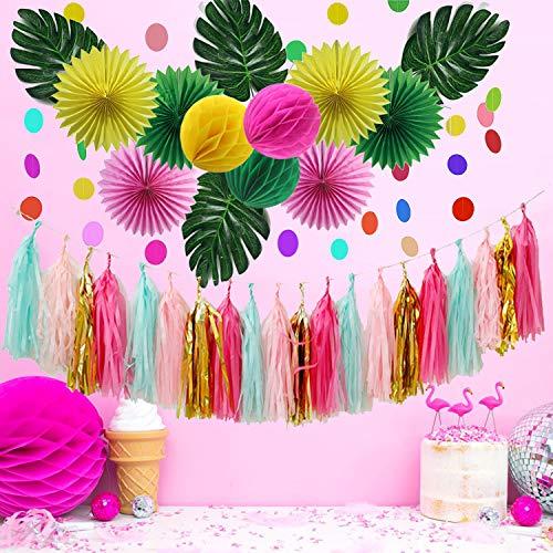 JoyTplay Zomer Decoratie Kit,Tropische Roze en Groen Papier Fan Bloemen,Kleurrijke Cirkel Dots Garland en Groene Bladeren Luau Garland,Tropische Zomer Zwembad Strand Verjaardagen Feestdecoraties