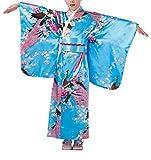 KRUIHAN Niños Yukata Vendimia Estilo Japones - Niña Kimono Tradicional Ropa Seda Tela Túnica Desgaste Boda Partido Actuación Vestido Azul 130CM