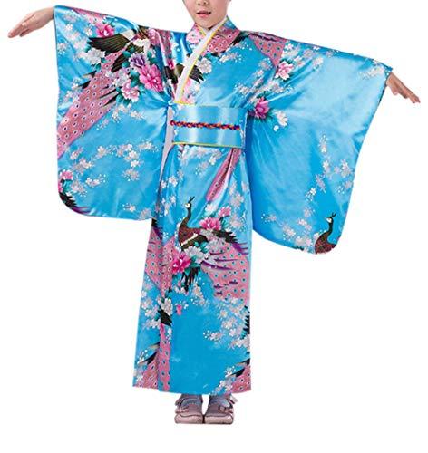 KRUIHAN Bambini Yukata Vintage Stile Giapponese - Ragazza Chimono Vestito Tradizionale Capi di Abbigliamento Seta Tessuto Accappatoio Matrimonio Festa Prestazione Toga Blu 120CM