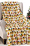 Décor&More Santa's Little Helper Collection Festive and Cuddly Holiday Microplush Throw Blanket (50' x 60') - Christmas Smileys