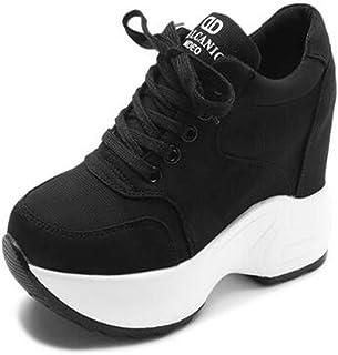 Sneakers da Donna con Plateau Moda Tinta Unita Tela Stringata Scarpe Basse Casual Bianche Scarpe con Zeppa nascoste Tacco ...