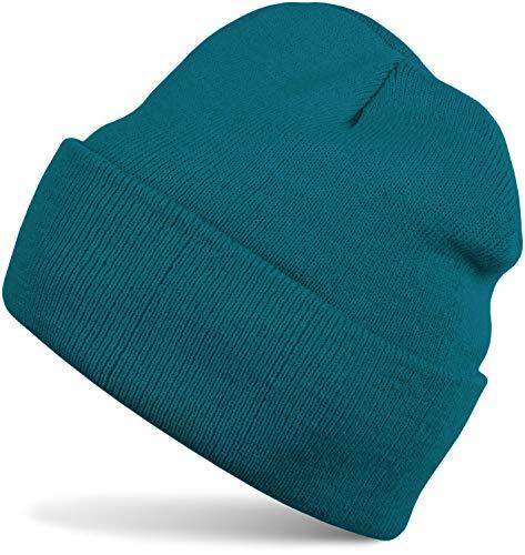 styleBREAKER Unisex warme Beanie Strickmütze, Feinstrick Mütze doppelt gestrickt, Winter 04024029, Farbe:Petrol