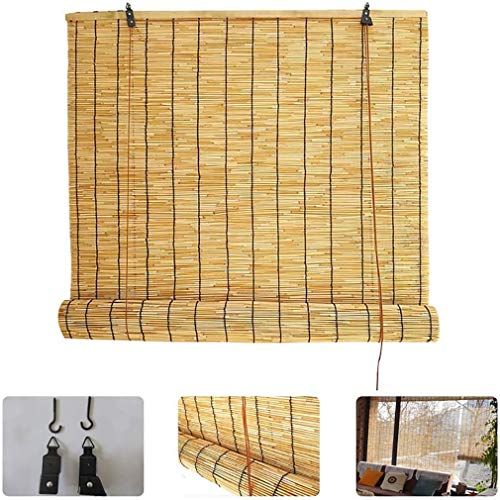 Cortina enrollable de bambú natural, persianas enrollables de lámina, cortinas para el sol, cortinas romanas con elevación,parasol/impermeable/aislamiento térmico,para interior,exterior,patio,jardín.