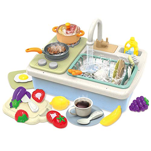 INTMEDIC Wheat Straw Pretend Play Kitchen Sink Toys for Kids, Children Electric Dishwasher Playing Toy with Running Water, Dish Rack & Play Cutting Food, Role Play Sink Gifts for Kids Boys Girls