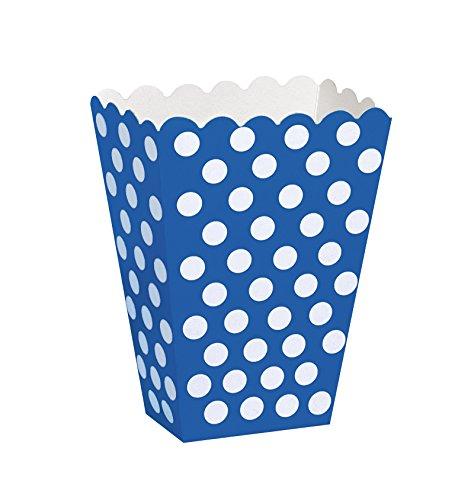 Unique Party-Paquete de 8 cajas para palomitas a lunares, color azul rey, (59294)
