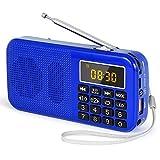 PRUNUS J-725 Radio FM SD USB MP3 Portátil con Reloj Despertador, Recargable Batería de Gran Capacidad (3000mAh,reproducciones largas 30 Horas) con Linterna de Emergencia(Azul)