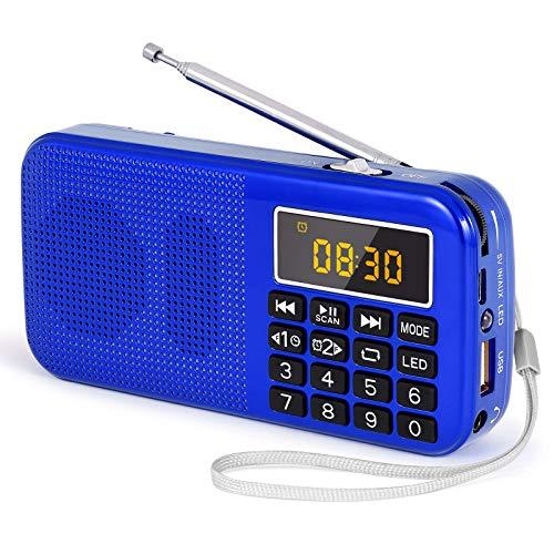 PRUNUS J-725 Radio Portatil Pequeña, Radio FM SD USB MP3 Portátil Bateria, Radio Batería Recargable de Gran Capacidad (3000mAh,reproducciones largas 30 Horas) con Linterna de Emergencia(Azul)