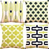 ZUEXT Set of 4 Decorative Throw Pillow Covers 18x18 Inch 2 Side Print, Square Indoor Outdoor Navy Blue Lemon Yellow Peacock Feather Modern Geometric Modern Accent Pillowcase for Car Couch Home Decor