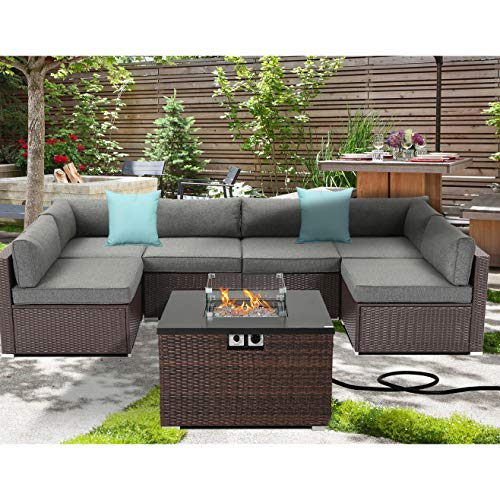 the furniture cove patio furniture sets SUNBURY Outdoor 7 Piece Sectional Sofa Propane Fire Pit, Dark Brown Patio Furniture Set w 32-inch 40,000 BTU Square Wicker Fire Table Tank 20 gal Outside for Garden, Poolside, Backyard