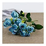 Fake Flowers,Artificial Flowers Silk Plastic Artificial Roses Bridal Wedding Bouquet for Home Garden Party Wedding