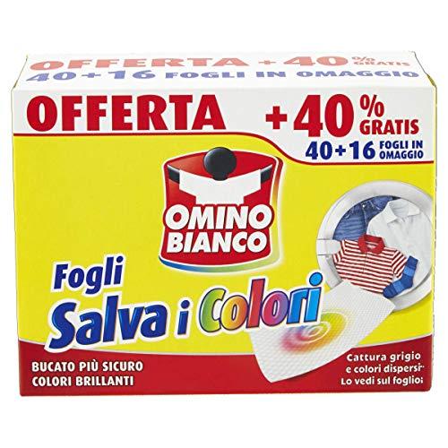 Omino Bianco - Fogli Salva Colore, Struttura a Nido d'Ape, Catturano il Grigio e i Colori Dispersi nel Lavaggio, 40 Pezzi + 16 Omaggio