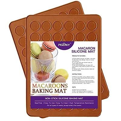 PERNY Macaron Mats, 48-Capacity Non Stick Silicone Macaron Baking Mat, Set of 2