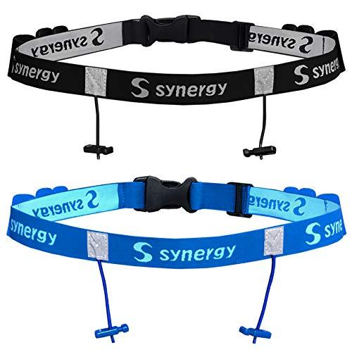 Synergy Running Triathlon Race Number Belt 2-Pack (Black Blue 2-Pack)