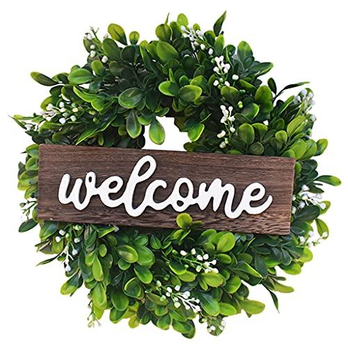 Non-brand Guirnalda de Puerta Frontal de 12 Pulgadas, Guirnalda Artificial de eucalipto, Signo de Bienvenida de Madera, Guirnalda Floral de Toda la Temporada