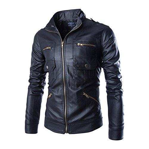 Jaqueta masculina WSLCN de couro sintético para motociclista, jaqueta de motoqueiro, casaco clássico com zíper multi-poches, Preto, US M (Asian L)