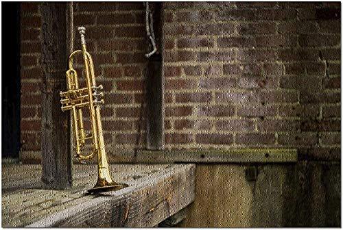 YYTOOF HD Jazz-Trompete in einem Club mit Backsteinmauern und rustikalem Holz Stage 9016083 (52*38 cm Premium 500-teiliges Puzzle Made in USA!)