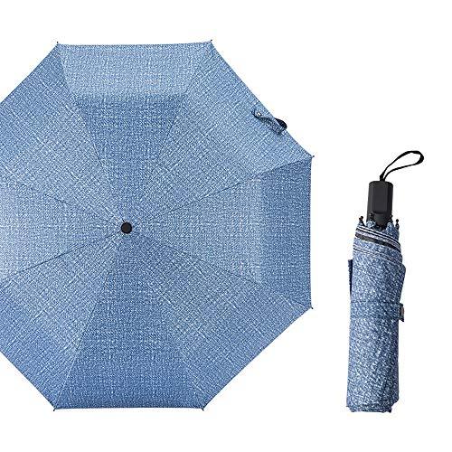 xinrongqu Automatischer Denim-Farbschirm Dual-Use-Falten Aus Schwarzem Kunststoff-Sonnenschutz-Sonnenschirm Einfaches Manuelles Modell Denim Blue