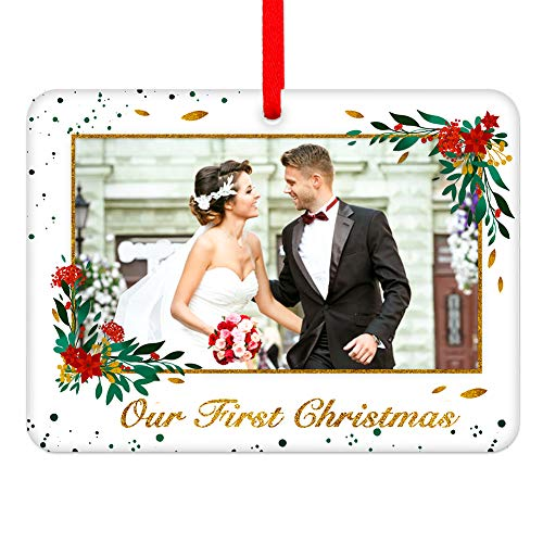 WaaHome Picture Frame Our First Christmas Wedding Ornaments 2020, First Christmas Together Tree Ornaments Wedding Married Gifts for The Couple Him Her