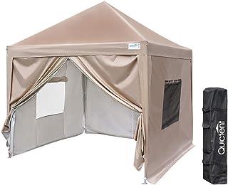 Quictent ワンタッチ タープテント 3段階調節 UVカット 耐水 スチール キャンプ アウトドア 耐水専用横幕/サイドシート4枚付属 テント キャンプ用品 ワンタッチテント タープ