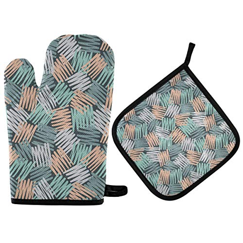 BOOBERT Oven Mitts and Pot Holder Oven Gloves Pink Blue and Green Light Pastel Colors Hatch Non-Slip Hot Pads Insulation Gloves Heat Resistant Kitchen Set for Cooking Baking Grilling BBQ