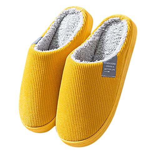 Zapatillas Casa Mujer Algodon Planas Sandalias Espuma viscoelástica Estar por Casa para Mujer, Antideslizantes Pantuflas Deslizantes Slipper Interiores y Exteriores (Amarillo, 37)