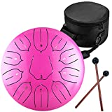 Lomuty 12 Pulgadas 30 CM Tambor de Lengua de Acero-11 Notas Clave C Instrumento de percusión - Handpan Drum con Bolsa de Tansporte, Partitura, Baquetas, Púas de Dedo(Rosado)