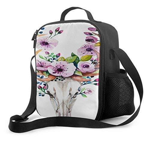 Lawenp Bolsa de almuerzo para niños, calavera de ciervo de acuarela brillante con flores, bolsa para almuerzo con asa, correa para el hombro, bolsa refrigeradora reutilizable para hombres, mujeres, t