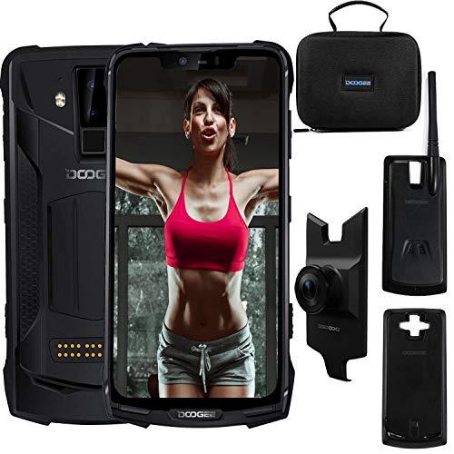 """Doogee S90 super - Android 8.1 Polyvalent pour l'extérieur + Walkie-Talkie, 5050mAh 6Go 128Go +, FHD 6,18 """"+ écran 19: 9, IP68 Antichoc Caméra étanche et AI 16MP + 8MP GPS NFC (Schwarz)"""