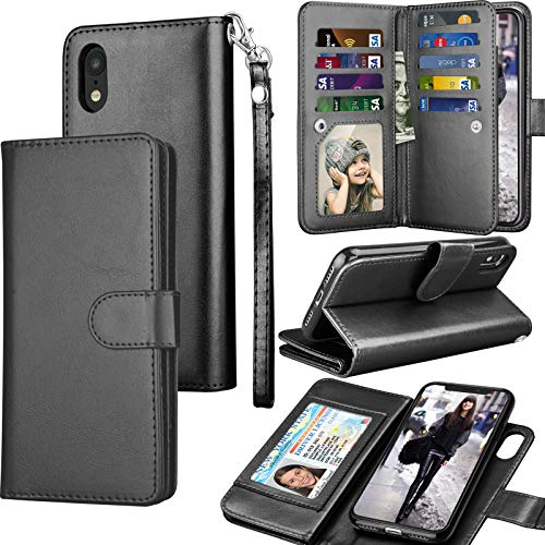 "Tekcoo for iPhone XR Wallet Case/iPhone XR Case, 6.1"" Luxury Cash ID Credit Card Slots Holder [Black] Purse Carrying PU Leather Folio Flip Cover [Detachable Magnetic Hard Case] & Kickstand"