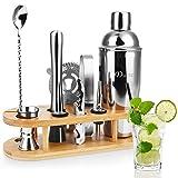 Duerer Kit de barman con soporte, set de coctelera de 11 piezas con elegante soporte de bambú, juego de herramientas Perfect Home Bar y kit profesional de barman Martini - Bono de recetas exclusivas