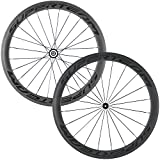Superteam Carbon Fiber Road Bike Wheels 700C Clincher Wheelset 50mm Matte 23 Width (Transparent...